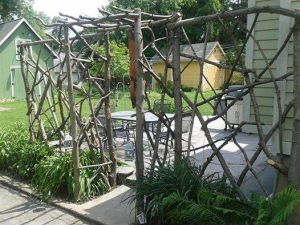 Natural weaved fencing and arbor