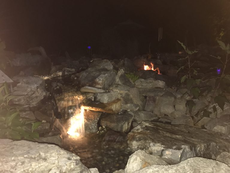 Waterfall and Fire Pit
